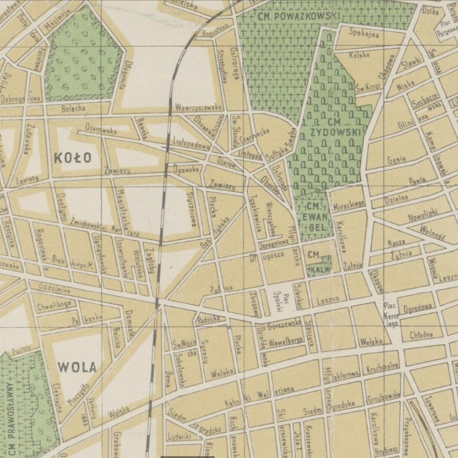 Stara mapa. żółto zielona. Po lewej napis wola i koło