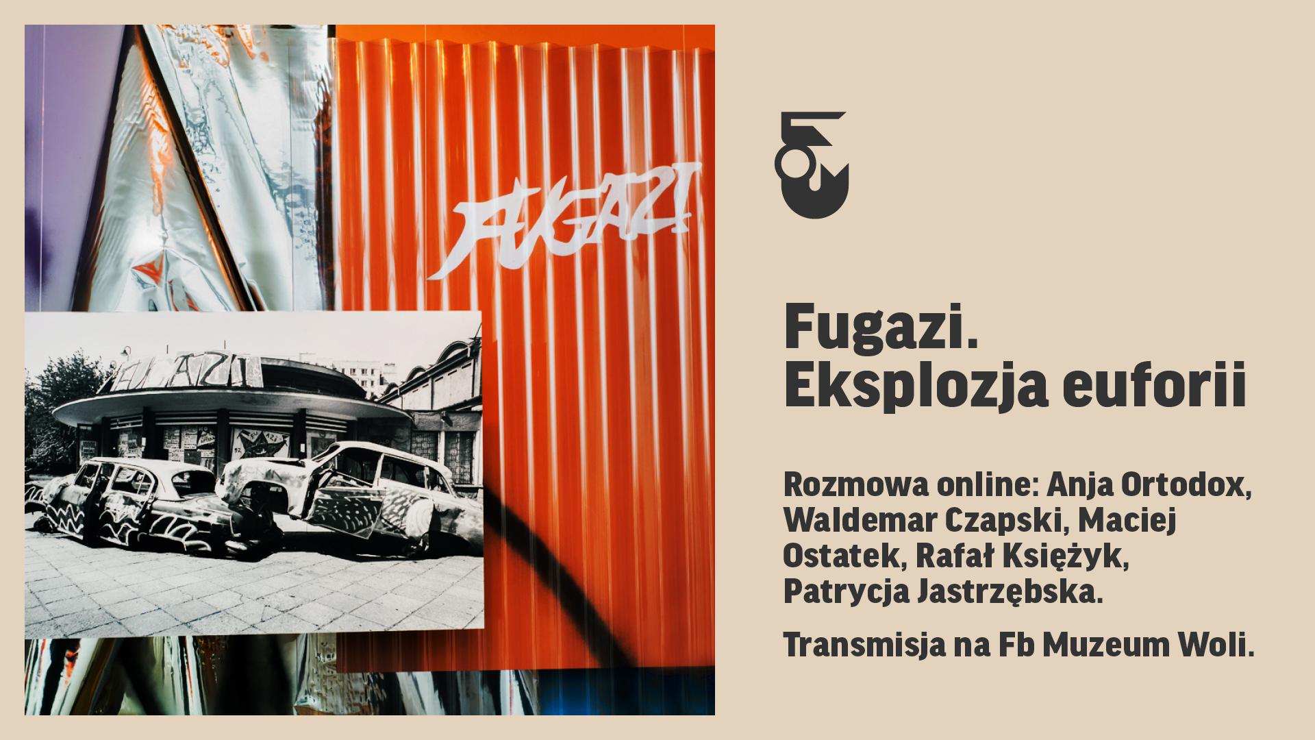 Grafika. Po prawej napis: Fugazi. eksplozja euforii. Po lewej zdjęcie. Srebrno-pomarańczowe tło i zdjęcie dwóch samochodów przed klubem