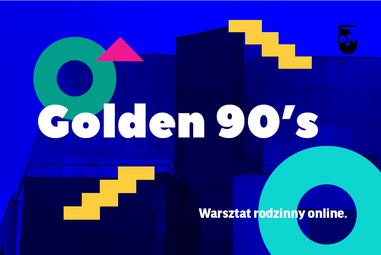 Grafika. Granatowa z kolorowymi elementami. Napis Golden 90's